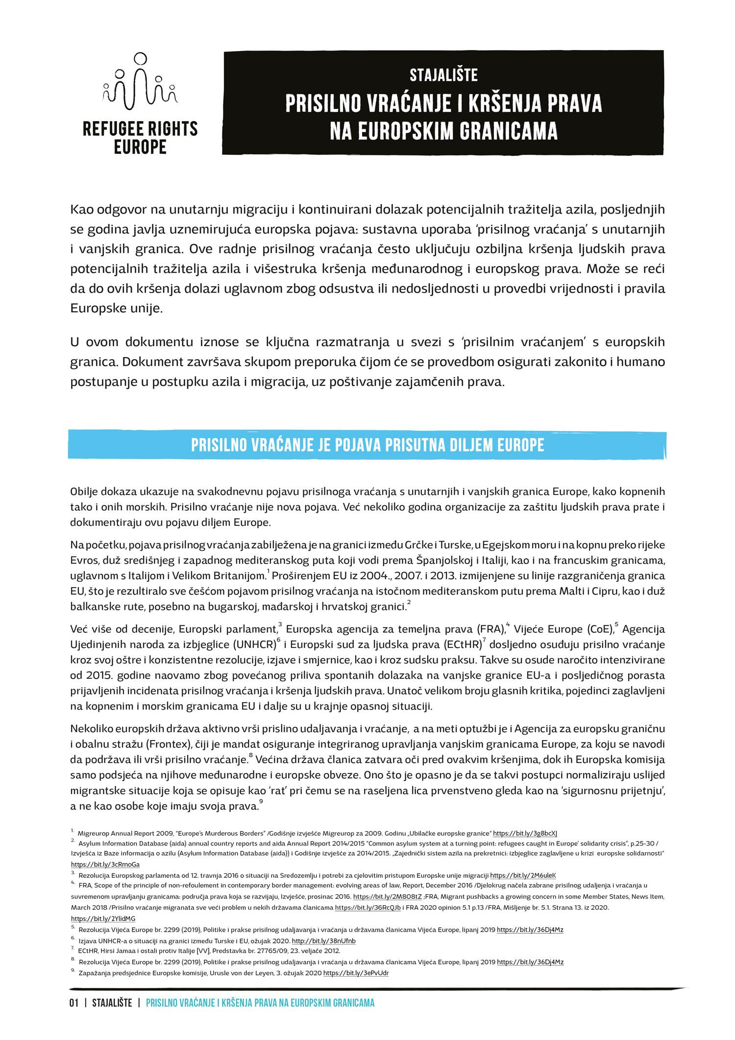 Refugee Rights Europe Prislno Vracanje Position Paper